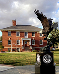 The eagle centerpiece of the Military Honor Garden, with the beautiful Larson Center providing a backdrop.